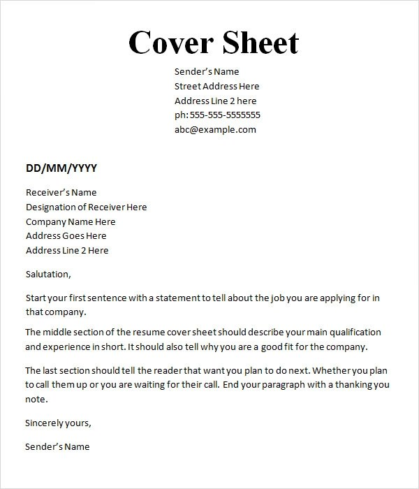 10+ Cover Sheet Templates Sample Templates