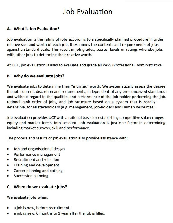 Sample Job Evaluation - 9+ Documents in Word, PDF - evaluation template