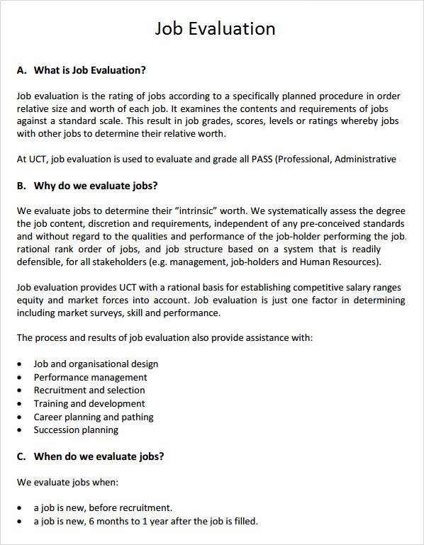 on the job training evaluation form – Job Evaluation Template