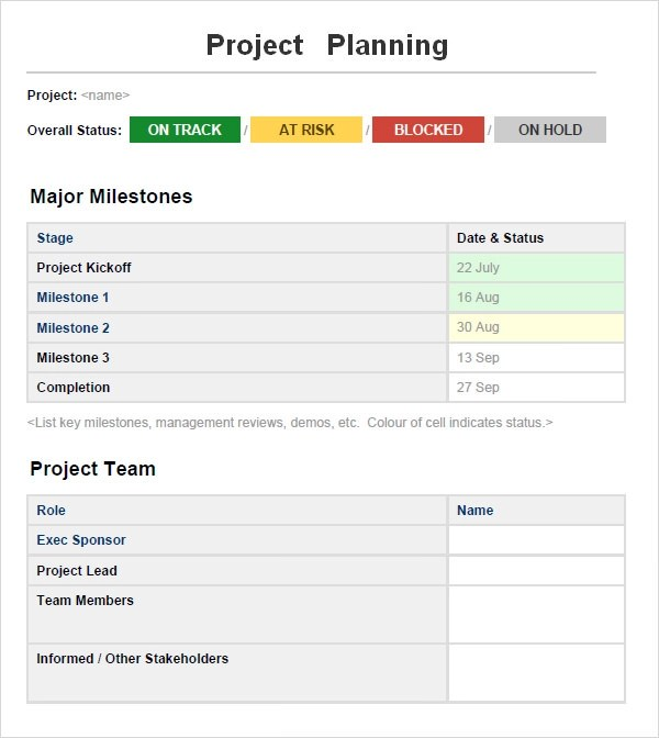 Sample Project Planning Template to Download Sample Templates - Planning Template Word