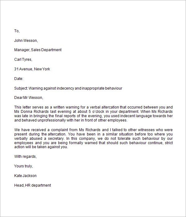 Warning Letter For Employee For Poor Performance Letter How To Write