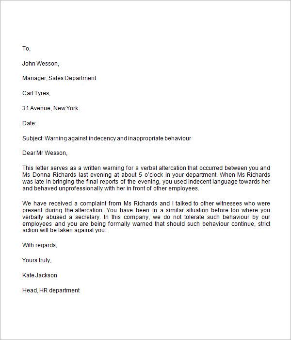 Sample Warning Letter Employee-Warning-Letter-Sample-Warning - sample final notice letter