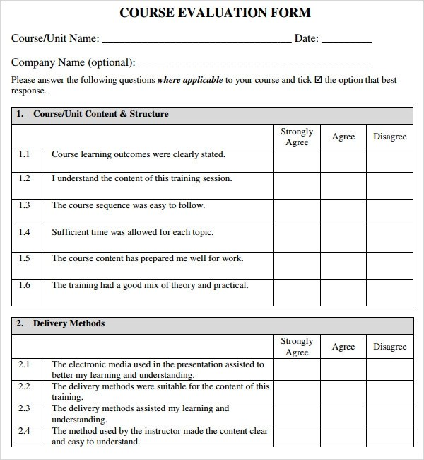 ... Doc600680 Class Evaluation Template Class Evaluation Template U2013 Sample  Class Evaluation 19 Sample Training Evaluation Forms ...