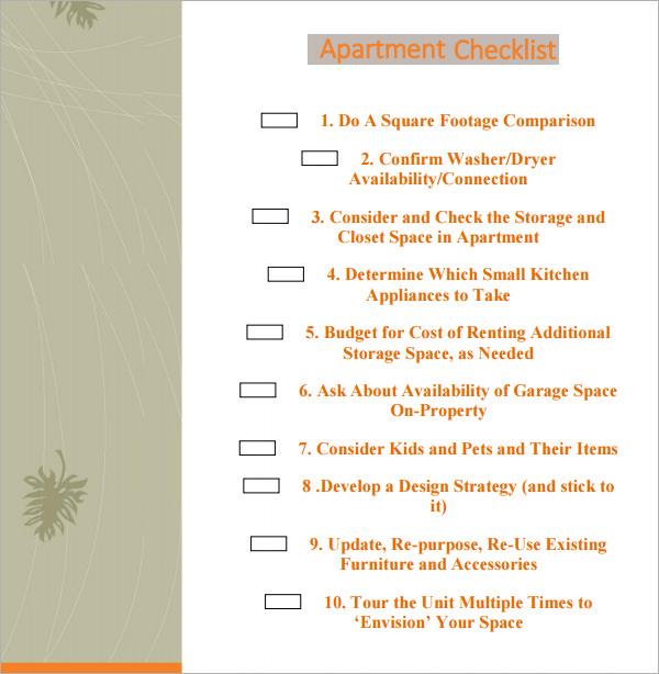 5+ New Apartment Checklist Samples Sample Templates