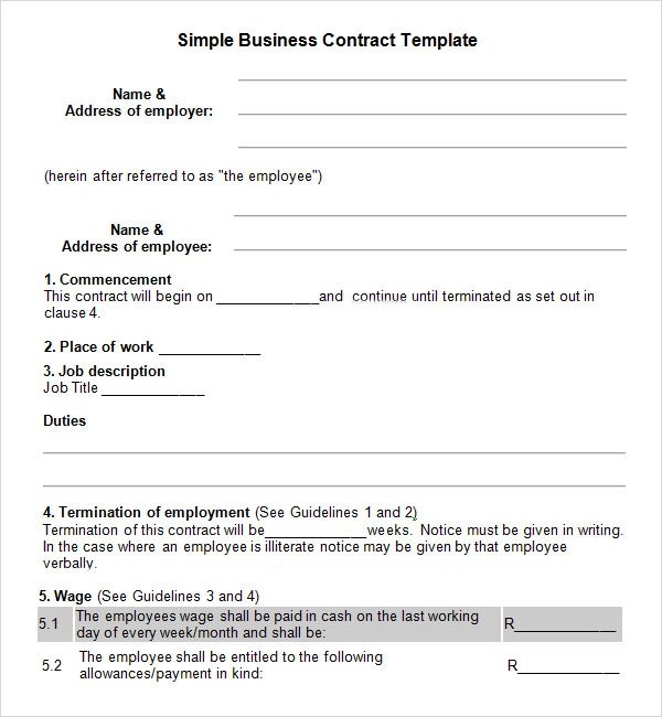 Doc838541 Business Contracts Templates Business Contract – Business Contract Template