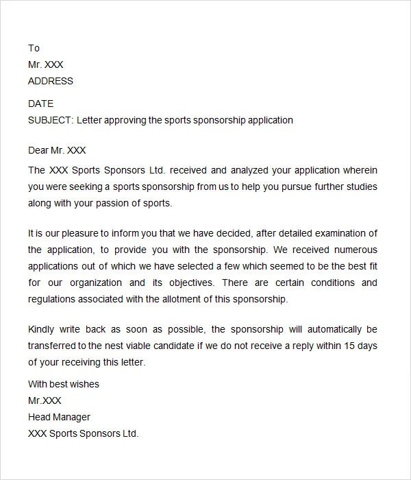 8 Free Sample Sponsorship Letters to Download Sample Templates - how to write a sponsor letter