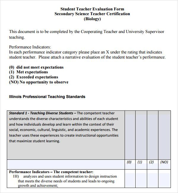 Teacher Evaluation Form Samples For Students | Jobs At Job Centre Uk