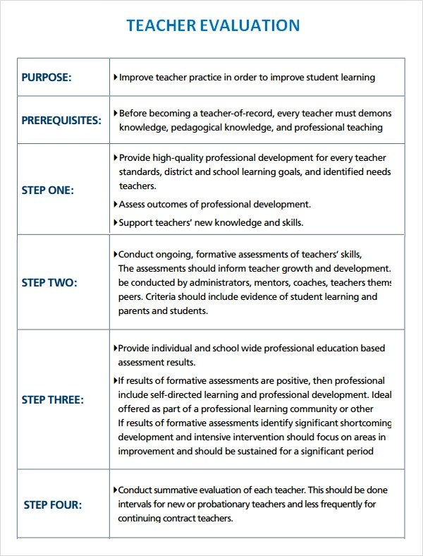 9+ Teacher Evaluation Samples Sample Templates