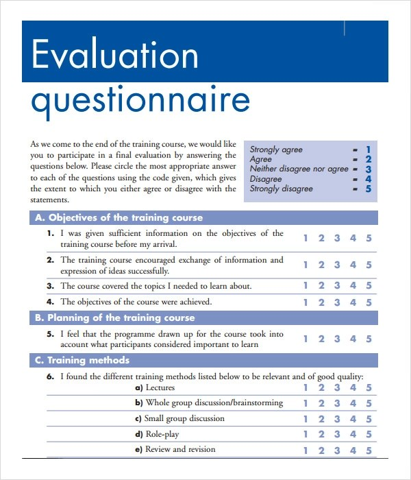 Training Evaluation Field Guide Opmgov Doc600700 Sample Employee Evaluation Questions