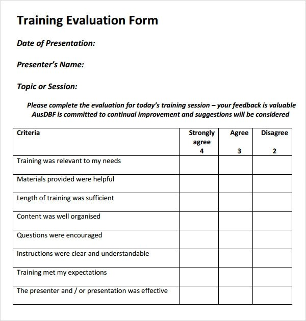 15+ Sample Training Evaluation Forms \u2013 PDF Sample Templates
