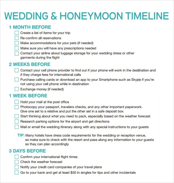 6 Sample Wedding Timeline Templates to Download for Free Sample