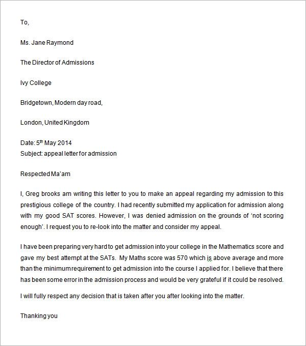 college appeal letter