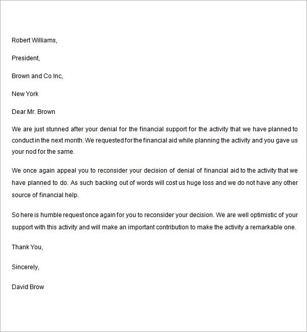 Sample Appeal Letter - 11+ Free Documents Download in Word