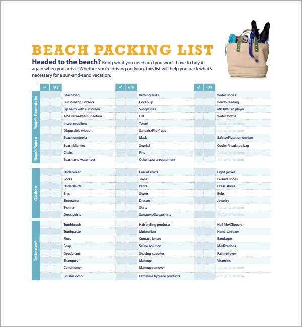 printable packing list for beach vacation