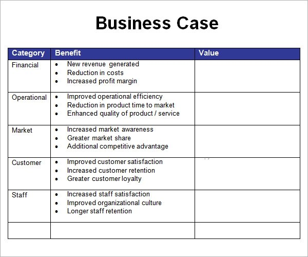 Project Management Business Case Template Image collections - business case templates free