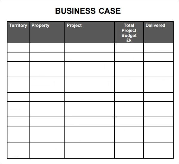 project business case template excel