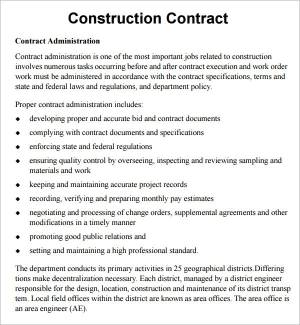 Simple Construction Contract Templates | Free Resume Samples
