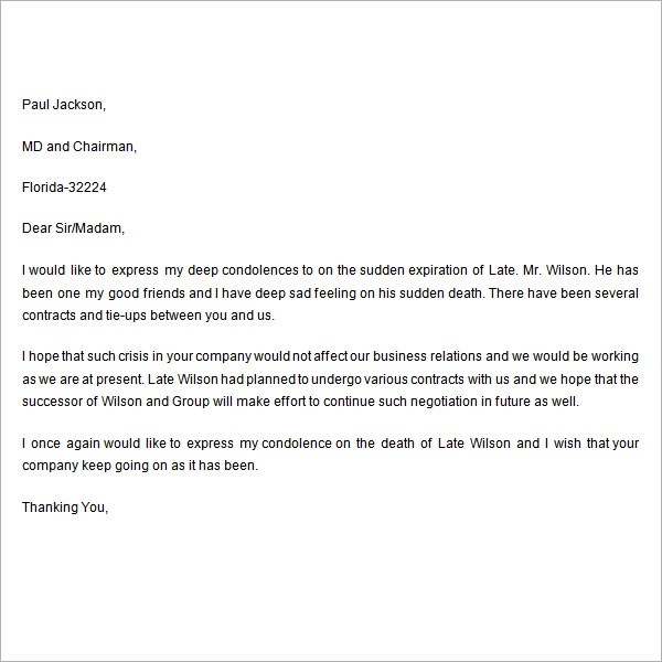 7+ Sample Useful Condolence Letters Sample Templates - Example Of A Condolence Letter