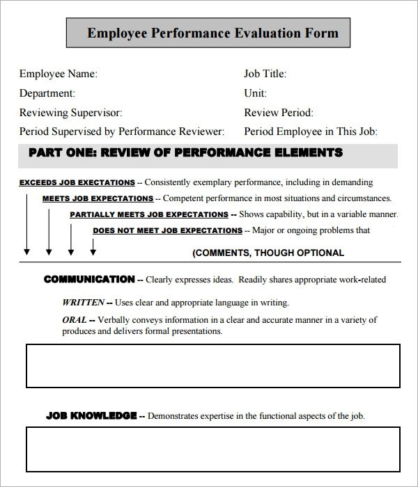 41+ Sample Employee Evaluation Forms to Download Sample Templates