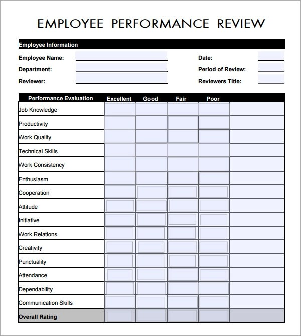 Employee Evaluation Form - 41+ Download Free Documents in PDF - job performance evaluation form templates