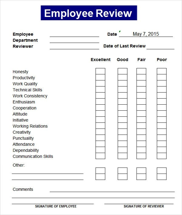 √ Employee Performance Review Template