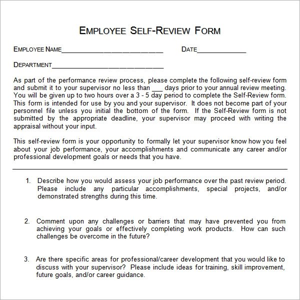 Filling Out Self Evaluation Form Performance Evaluation Forms - employee self evaluation form