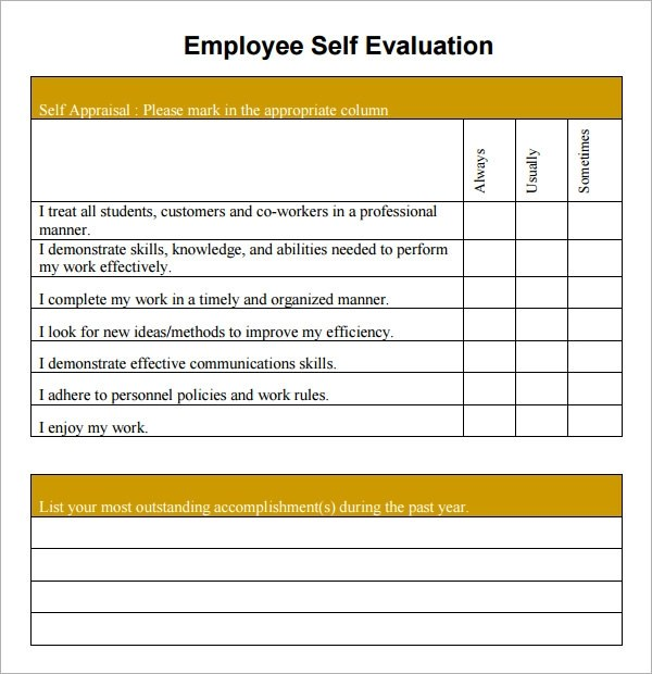 15+ Sample Employee Self Evaluation Form Sample Templates - free assessment forms