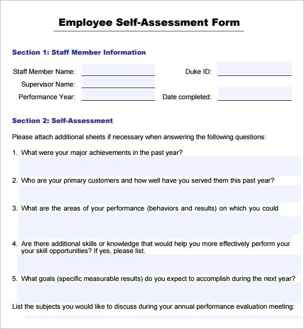 16+ Sample Employee Self Evaluation Form \u2013 PDF, Word, Pages Sample