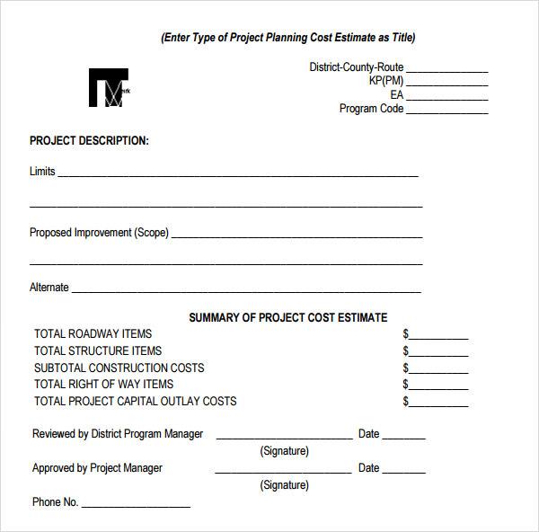 sample cost estimate for construction