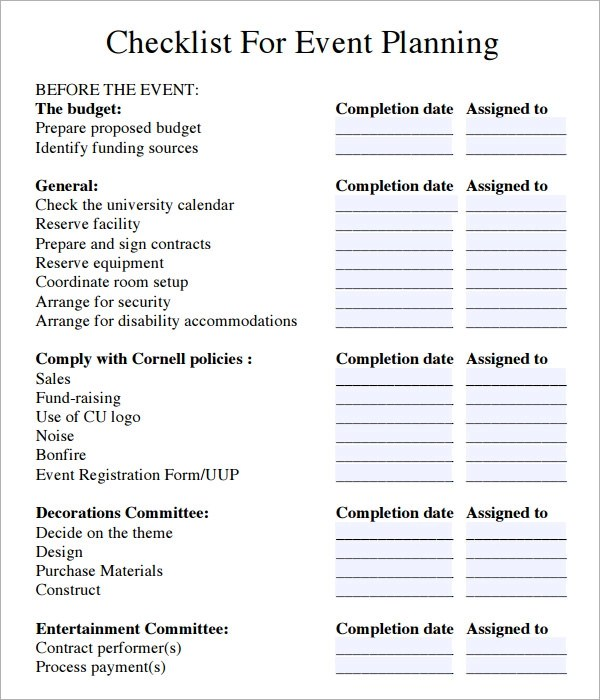 Event Planning Checklist - 6+ Download Free Documents in PDF - free event planner template