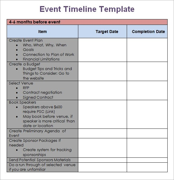 event timeline template free - Jolivibramusic - Event Planning Document Template