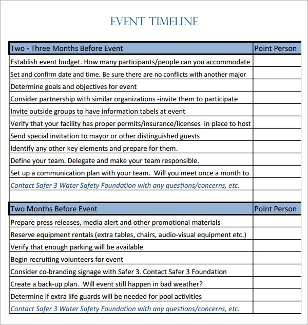 10 Event Timeline Templates for Free Download Sample Templates - Day Of Event Timeline Template