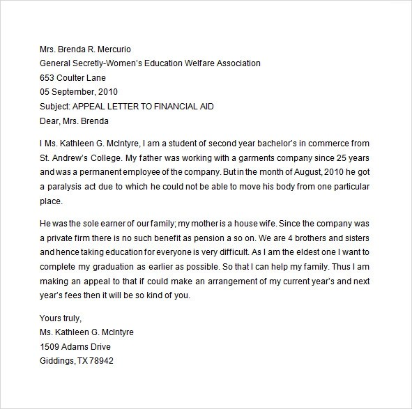 Appeal Sample Letter For Financial Aid - writing an appeal letter