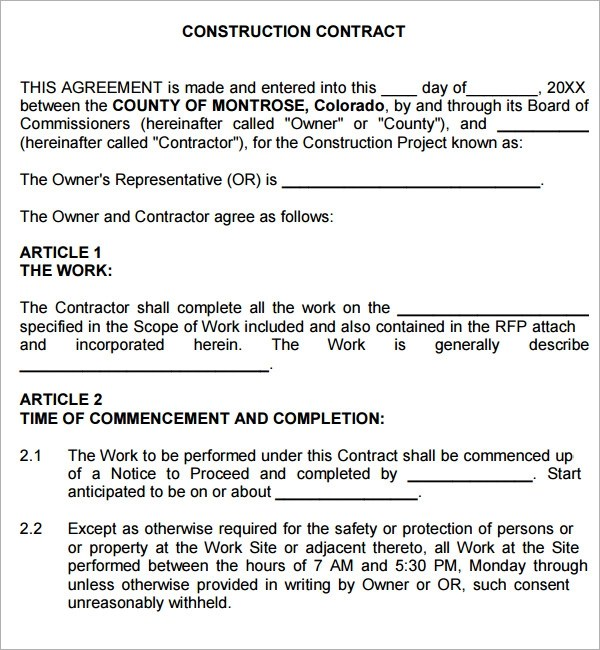 Contract Agreement For Construction Work  Create Professional