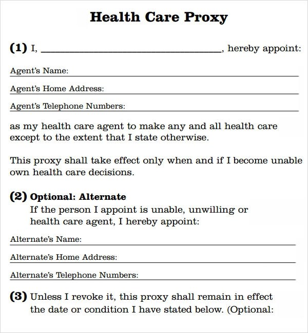 proxy form template - medical proxy form