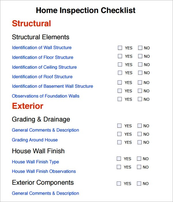8 Sample Home Inspection Checklist Templates to Download Sample