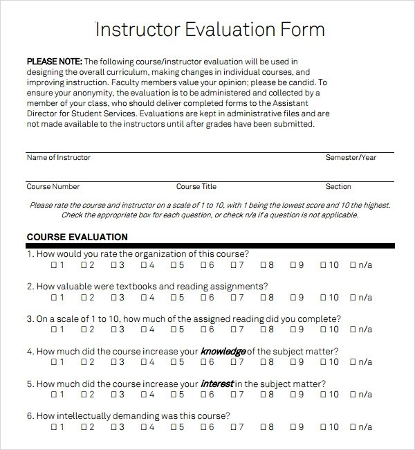 class evaluation form template - Bire1andwap - sample class evaluation