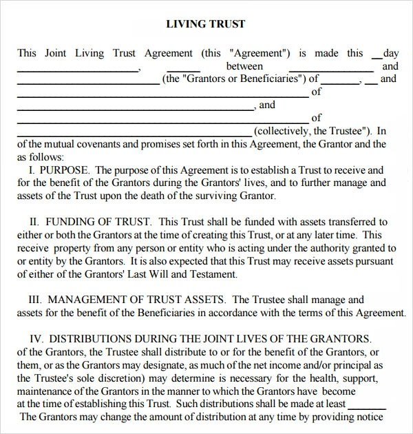Sample Living Trust Form Living Trust Legal Agreement Formsample
