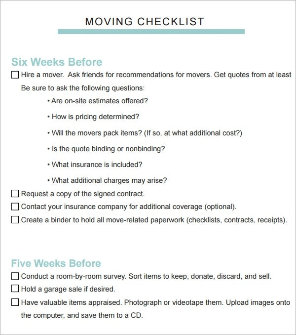 Moving Checklist - 9+ Download Free Documents in PDF - moving checklist template