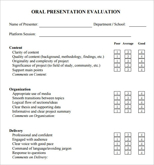7+ Sample Presentation Evaluations - PDF