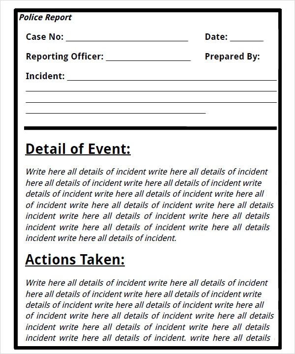 police report writing template - crime report template