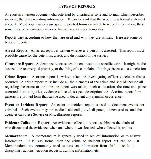 Police Incident Report Template – Police Incident Report Template Word