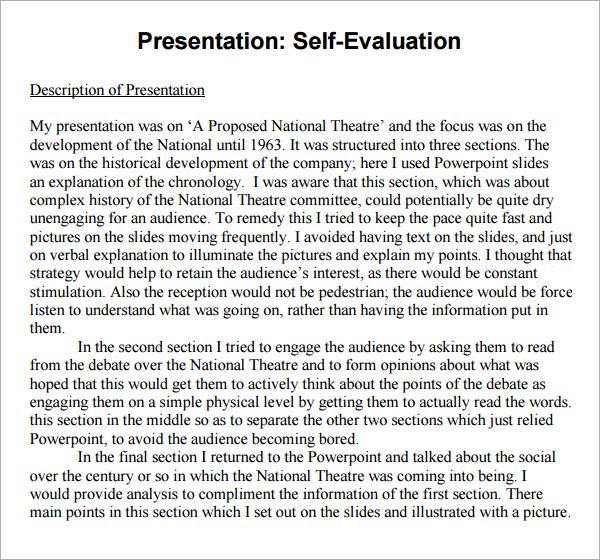 Group Self Evaluation Form Free Parent-Teacher Conference - sample presentation evaluation form example