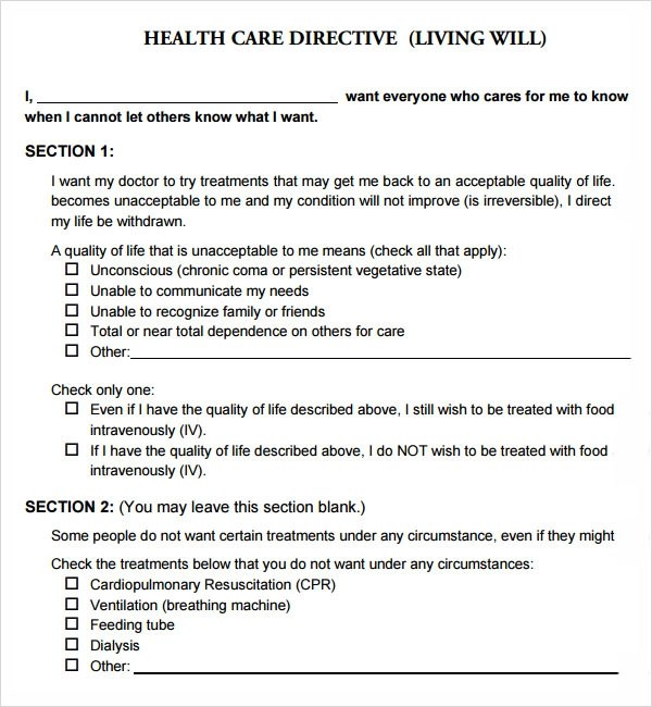 Medical Power Of Attorney Form Texas 2015 – Sample Living Will Template