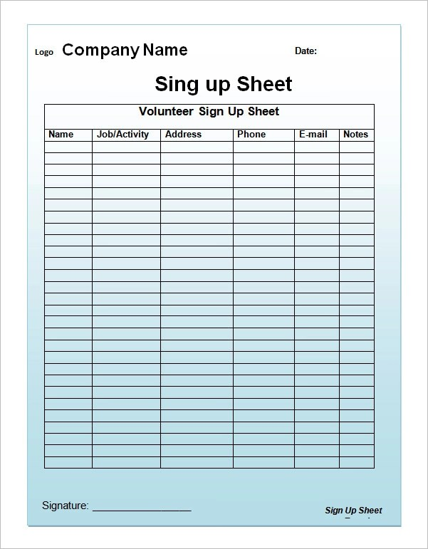 23+ Sample Sign Up Sheet Templates \u2013 PDF,Word, Pages, Excel Sample