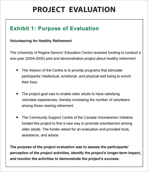 project evaluation template - Selol-ink