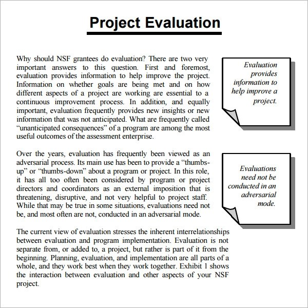 9 Sample Project Evaluation Templates to Download Sample Templates