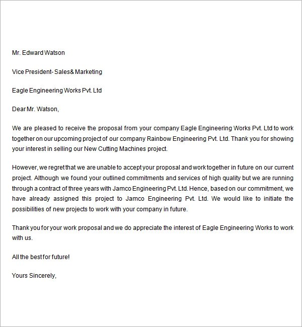Scholarship Award Letter Sample Format Sample Rejection Letter 7 Free Documents Download In Word