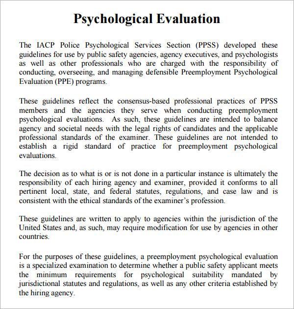 8 Sample Psychological Evaluation Templates to Download Sample