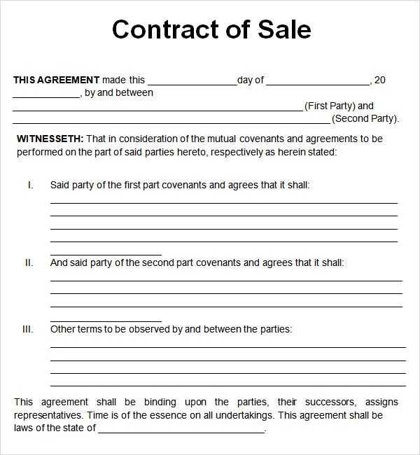 Sales Agreement Template cyberuse - contract template for word